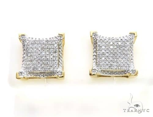 10K Yellow Gold Micro Pave Diamond Stud Earrings 63495 Stone