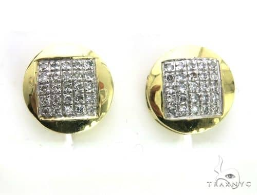 10K Yellow Gold Micro Pave Diamond Stud Round Earrings 63497 Stone