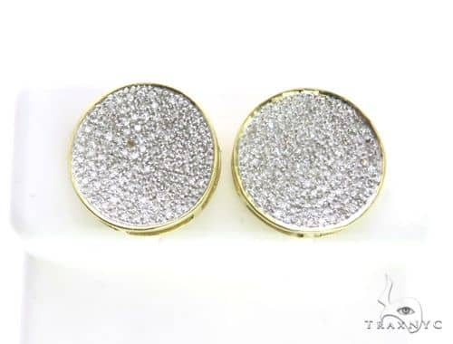 14K Yellow Gold Micro Pave Diamond Stud Round Earrings. 63499 Stone