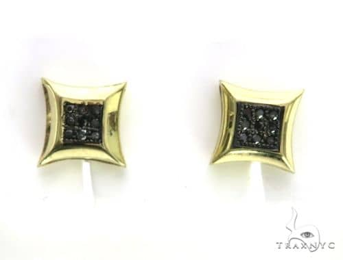 10K Yellow Gold Micro Pave Diamond Stud Earrings 63502 Stone