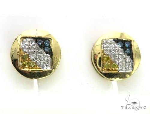 14K Yellow Gold Micro Pave Tri Color Diamond Earrings 63509 Stone