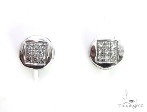 10K White Gold Micro Pave Diamond Stud Earrings 63510 Stone
