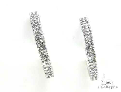 14K White Gold Micro Pave Diamond Stud Round Earrings 63531 Stone