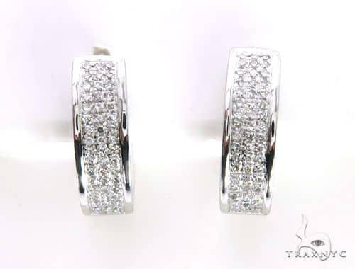 14K White Gold Micro Pave Diamond Stud Round Earrings 63532 Stone