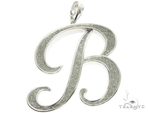 10K White Gold Micro Pave Diamond Initial Letter B Pendant 63537 Metal