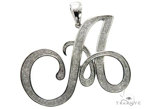 10K White Gold Micro Pave Diamond Initial Letter A Pendant 63538 Metal