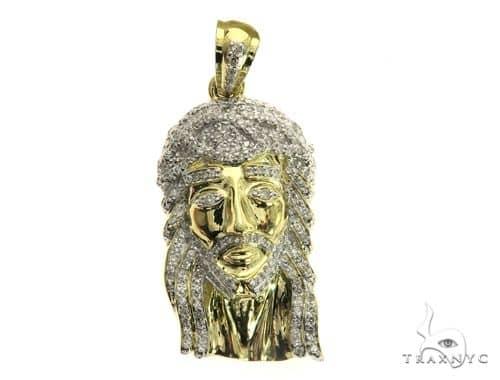 10K Yellow Gold Micro Pave Diamond Jesus Pendant 63541 Metal