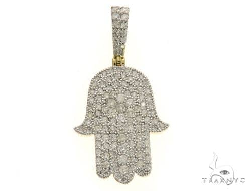 10K Yellow Gold Micro Pave Diamond Stud Hand Pendant 63544 Metal
