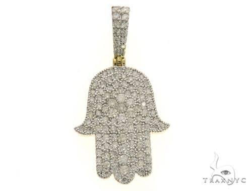 10K Yellow Gold Micro Pave Diamond Stud Hand Pendant 63544 Metal