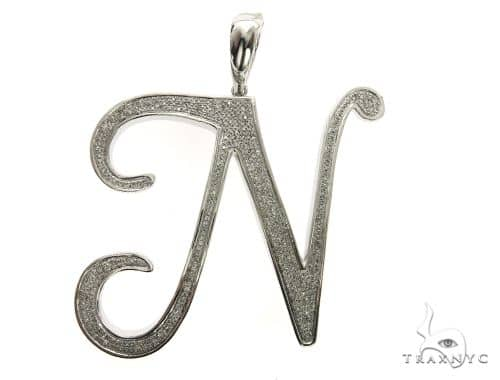 10K White Gold Diamond \'J\' Initial Pendant 63553 Metal