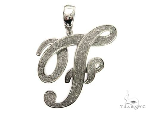 10K White Gold Diamond \'F\' Initial Pendant 63554 Metal