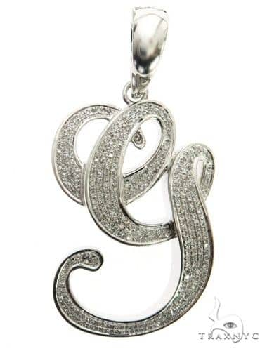 10K White Gold Diamond \'G\' Initial Pendant 63555 Metal