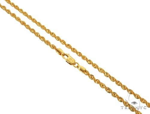 22K Yellow Gold Hollow Rope Link Chain 24 Inches 2.7mm 5.38 Grams 63562 Gold