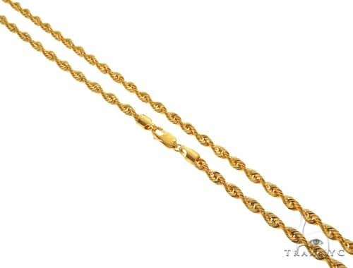 22K Yellow Gold Hollow Rope Link Chain 24 Inches 4.3mm 14.6 Grams 63564 Gold