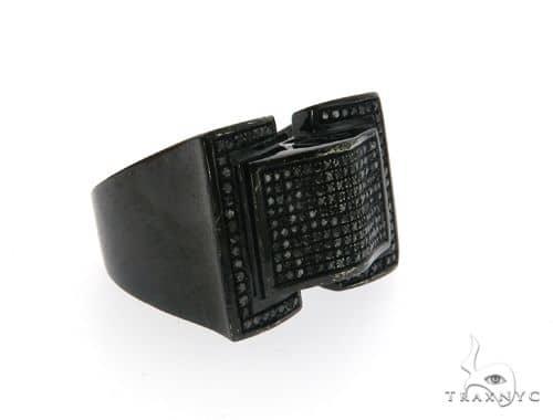 10K Black Gold Micro Pave Diamond Stud Ring 63576 Stone