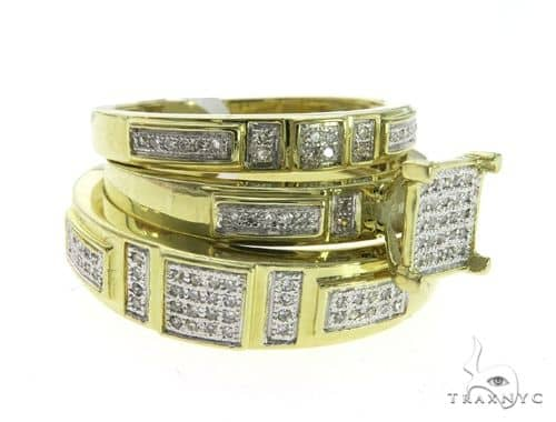 10K Yellow Gold Wedding Set 63580 Stone