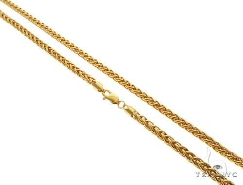22K Yellow Gold Puffed Hollow Wheat Link Chain 24 Inches 4mm 21.4 Grams 63600 Gold