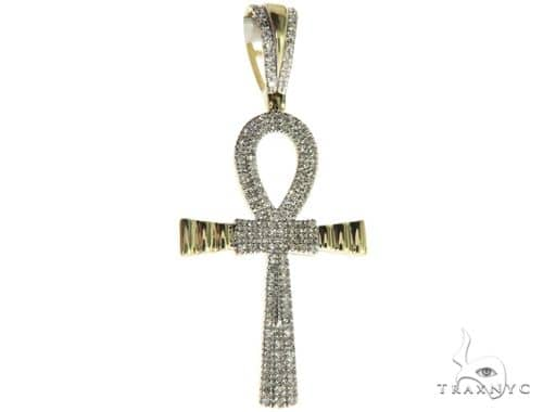 10K Yellow Gold Micro Pave Diamond Small Ankh Cross 63611 Metal