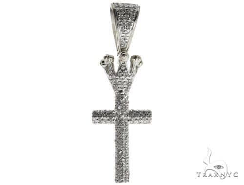 10K White Gold Micro Pave Diamond Small Crowned Cross 63615 Metal