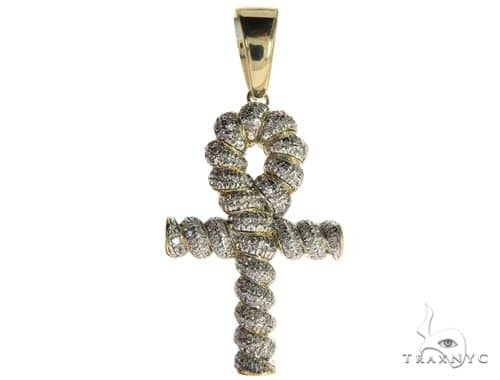 10K Yellow Gold Micro Pave Diamond Twisted Ankh Cross 63617 Metal