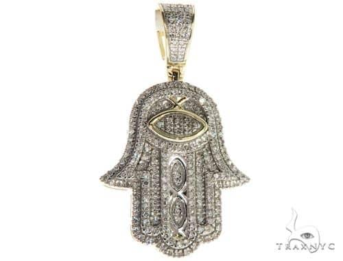 10K Yellow Gold Micro Pave Diamond Hamsa Hand Charm Pendant 63618 Metal