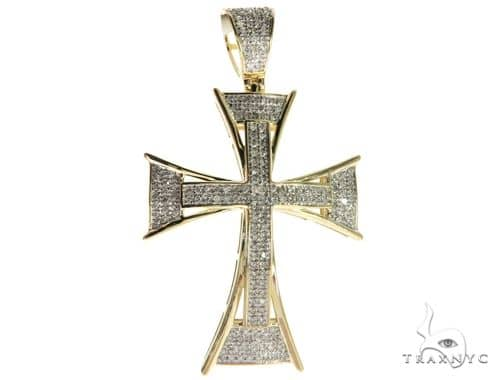 10K Yellow Gold Micro Pave Diamond Cross 63626 Diamond