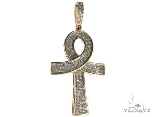 10K Yellow Gold Micro Pave Diamond Ankh Cross 63628 Metal