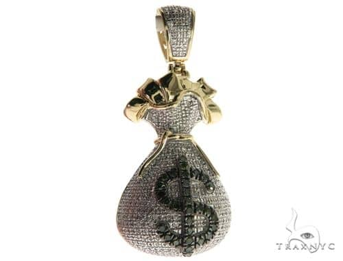 10K Yellow Gold Micro Pave Diamond Money Bag Dollar Sigh Charm Pendant 63632 Metal