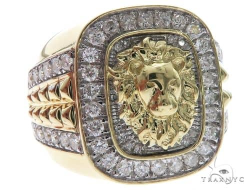 10K Yellow Gold Micro Pave Diamond Lion Head Ring 63637 Stone