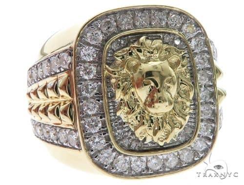 10K Yellow Gold Micro Pave Diamond Lion Head Ring 63637 Stone