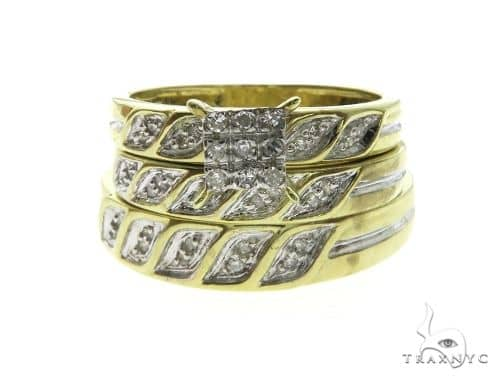 10K Yellow Gold Diamond Rings Wedding Set 63661 Engagement