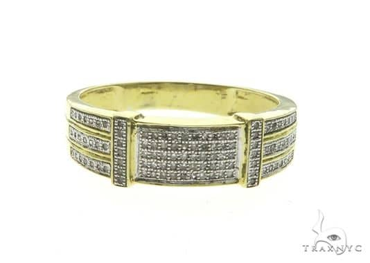14K Yellow Gold Micro Pave Men\'s Diamond Ring 63675 Stone