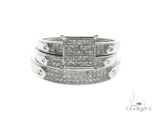 14K White Gold Micro Pave Diamond Ring Wedding Set 63681 Engagement