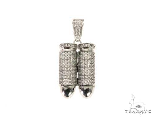 Double Bullet White Pendant 63691 Metal