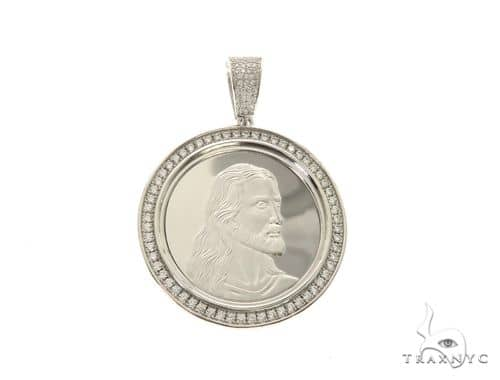 White Coin Jesus Pendant 63692 Metal