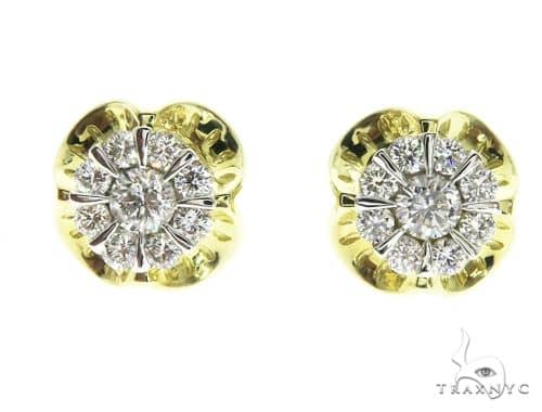 14K Yellow Gold Prong Diamond Cluster Earrings 63707 Stone