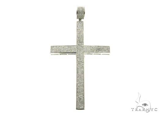 14K White Gold Micro Pave Diamond Cross Pendant 63851 Metal