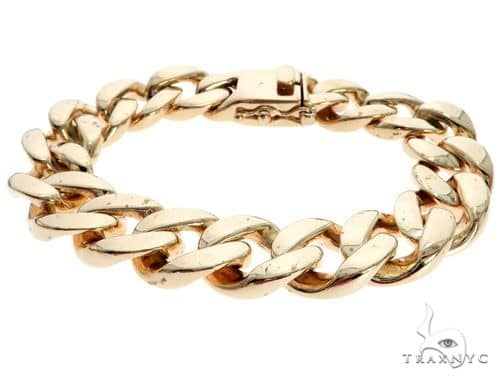 10K Yellow Gold Cuban Link Bracelet 8.5 Inches 12mm 81.25 Grams 63861 Gold