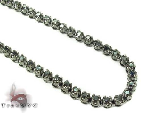 .925 Sterlilng Silver Black Diamond Chain 30 Inches 3.5mm 40.7 Grams Diamond