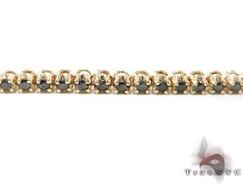 14K Yellow Gold Black Diamond Chain 26 Inches 4mm 45.1 Grams 63879 Diamond