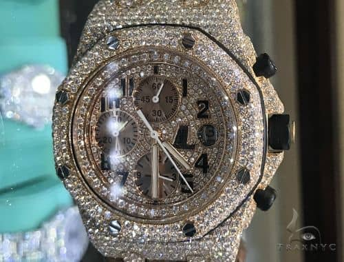 Rose Gold  Audemars Piguet Royal Oak Offshore Diamond Watch Leather Strap 63892 Audemars Piguet Watches