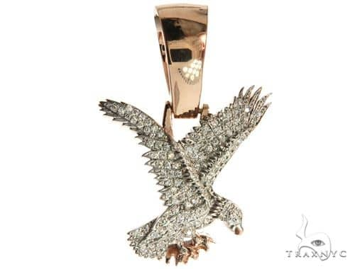 14K Rose Gold Micro Pave Diamond Eagle Charm Pendant 63941 Metal