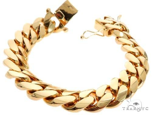 Miami Cuban Link Bracelet 14K Yellow Gold 8.5 Inches 15mm 143.5 Grams 63998 Gold