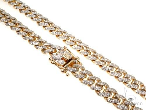 Pave Diamond Miami Cuban Link Chain 20 Inches 10mm 107.9 Grams 63903 Diamond