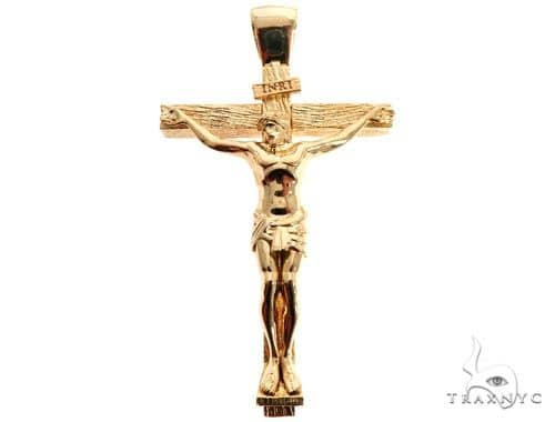 Custom 18K Yellow Gold Crucifix Jesus Cross Charm Pendant 64006 メンズ ゴールド クロス