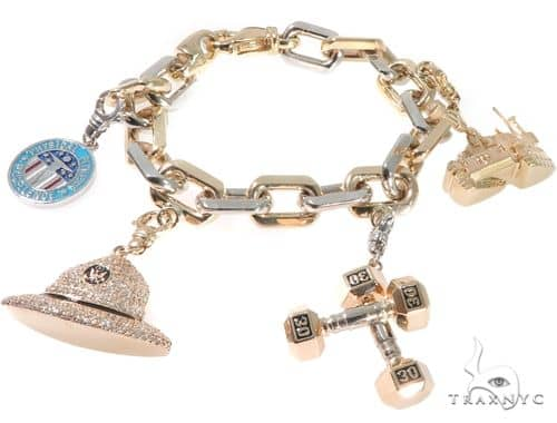 Custom Military Charms Diamond Bracelet メンズ ダイヤモンド ブレスレット