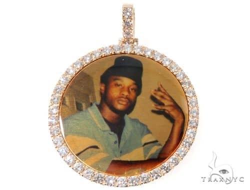 Prong Diamond Portrait Image Pendant Picture Medallion