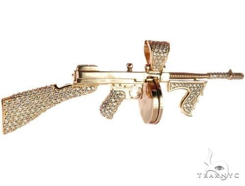 Custom Tommy Gun Diamond Pendant