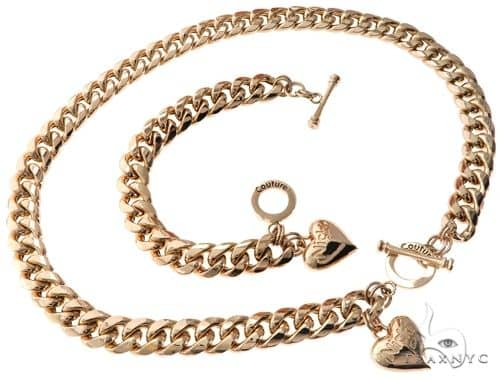 Miami Cuban Chain and Bracelet Set with Custom Locks and Heart Charms ゴールドネックレス