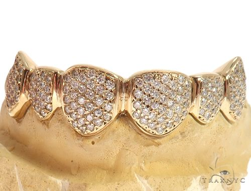 14k Yellow Gold Iced Out Grillz 64722 Men Specials